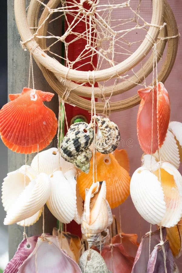 A dream catcher with sea shells. Sea shells hanging on a wooden circle, dream catcher royalty free stock photo