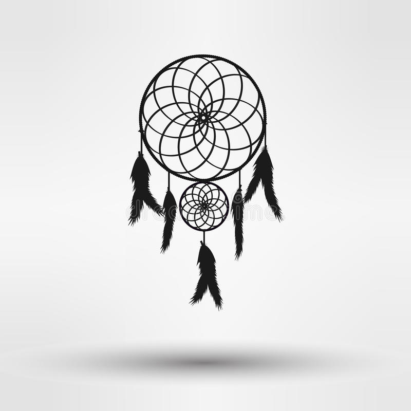 Dream catcher silhouette in black color isolated on white background. illustration vector illustration