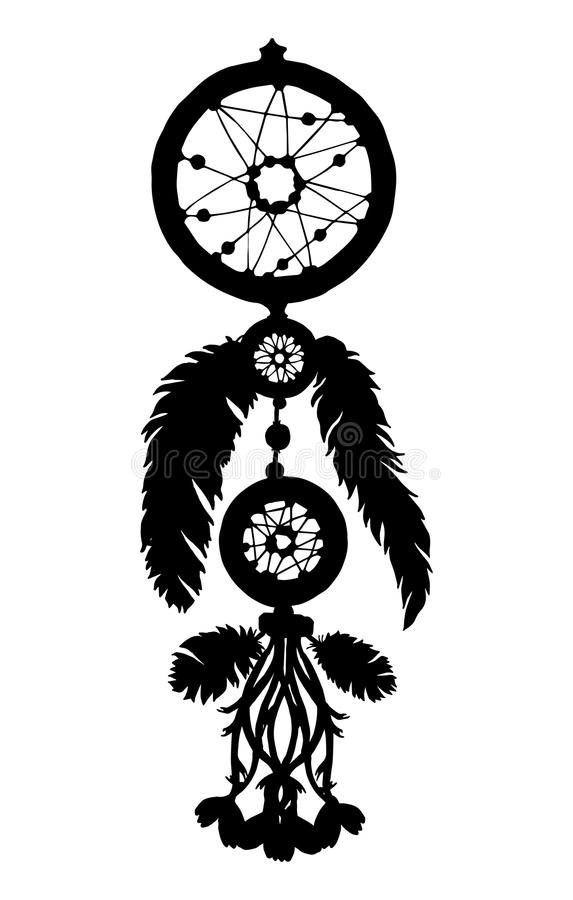 Dream catcher silhouette with feathers and beads stock illustration