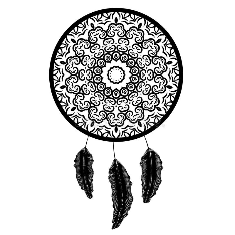 Dream Catcher Silhouette with Feathers stock illustration