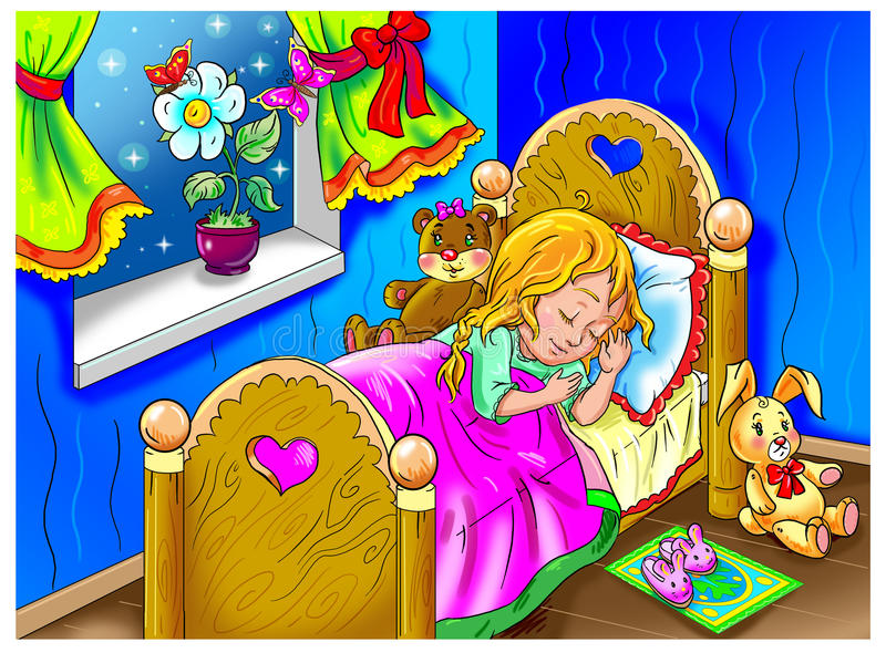Download Dream stock illustration. Image of bear, colorful, bedroom - 34119630