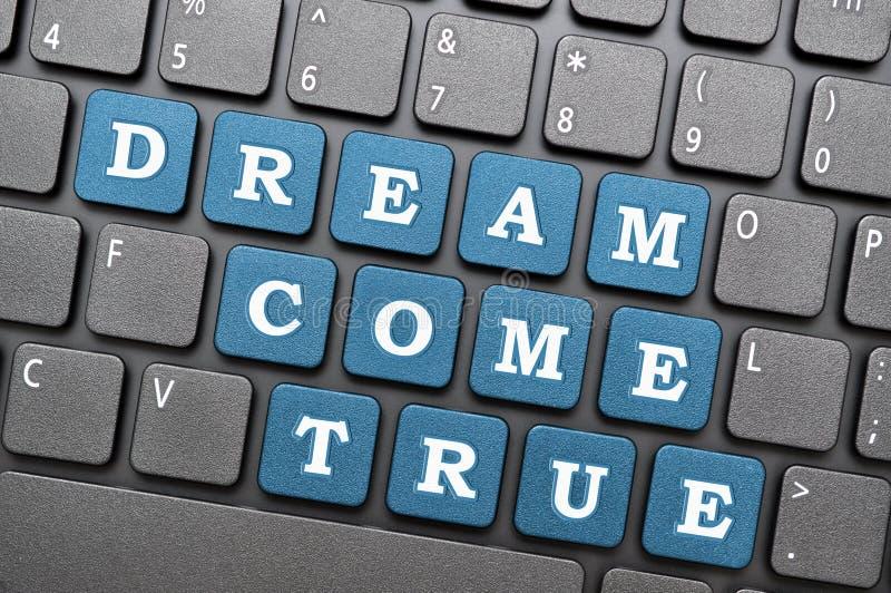Dream come true. Blue key on laptop royalty free illustration