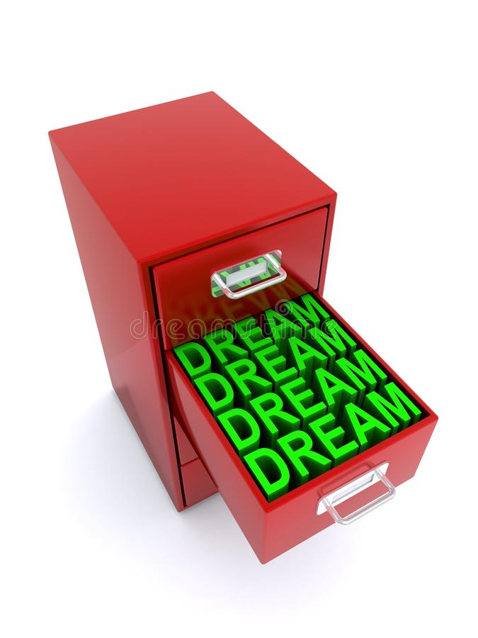 Dream concept. An open drawer filled with dreams in a red filing cabinet on a white background royalty free illustration