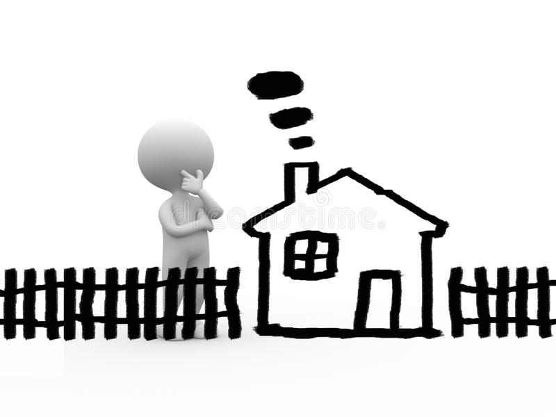 Dream concept. 3d people - man, person with childlike drawing of a house. Dream concept royalty free illustration