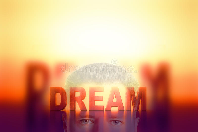 Dream concept. Businessman with abstract text vector illustration