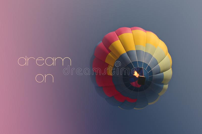 Dream on concept. Hot air balloon colorful in sky. Dream on concept. Hot air balloon colorful in blue sky. Freedom, flying, travel, dream concept stock photos