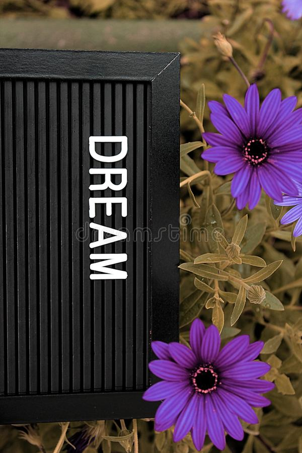 Dream concept - Isolated text on black background with colorful flowers. Dream concept - Personal development - Isolated text on black background with colorful stock photo