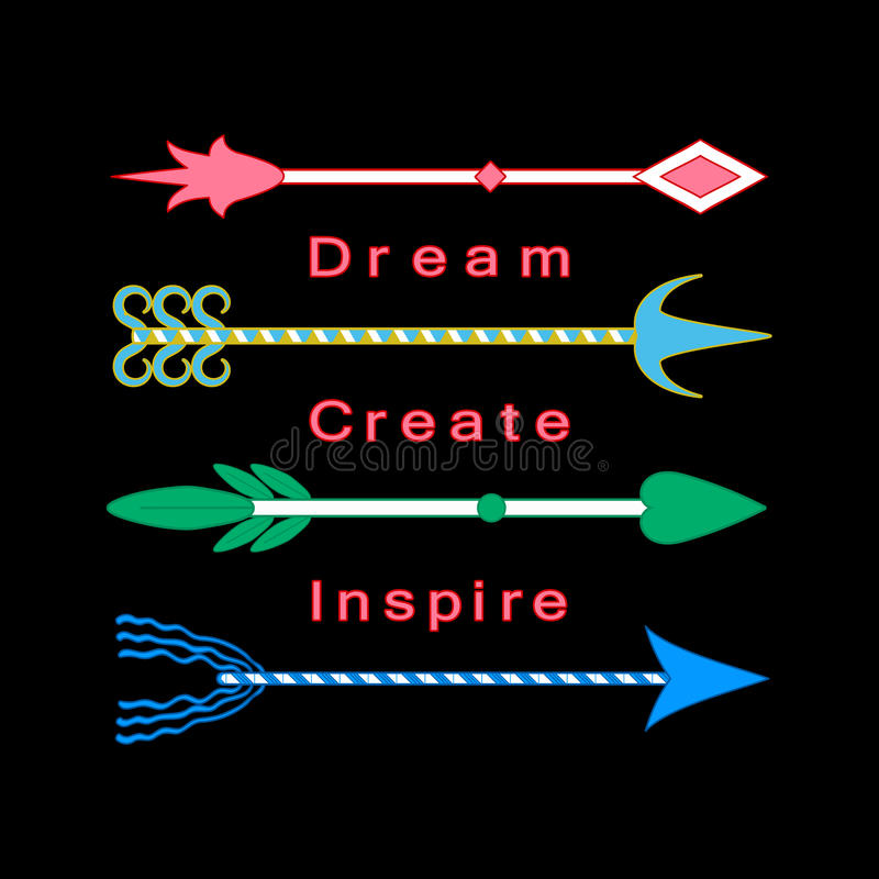 Dream, create, inspire concept Inspiration quote Motivational words Colorful tribal arrows set royalty free illustration