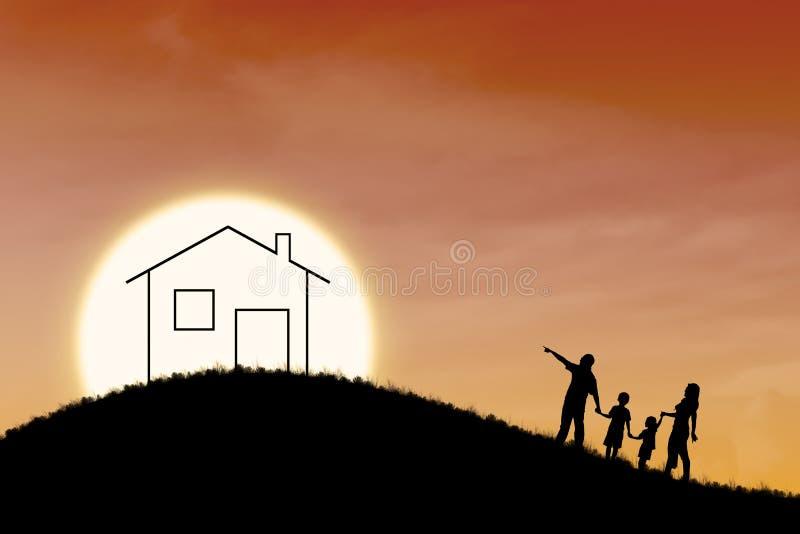 Dream of family house on orange sunset background vector illustration