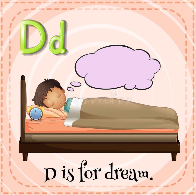 Dream. Flashcard letter D is for dream vector illustration