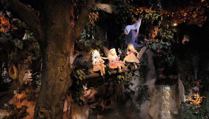Dream flight ride at theme park The Efteling, Kaatsheuvel, The Netherlands. miniature fairy tale forest stock photo