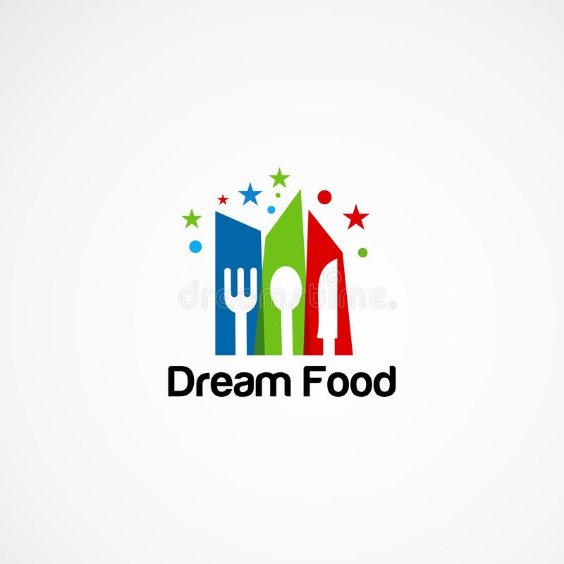 Dream food logo vector, with little star concept, icon, element, and template for company.  stock illustration