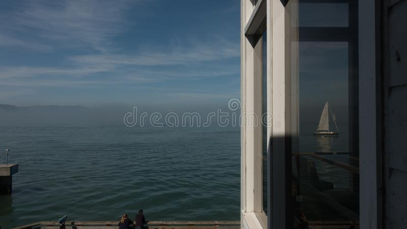 Dream of freedom, Alcatraz seen from SF royalty free stock images