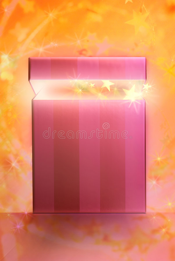 Dream gift. Box with golden stars coming out from on a sparkling background royalty free stock image