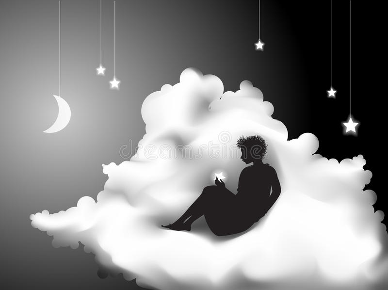 Dream. Girl sitting on the cloud and holding the star, dream in secret place, shadows, vector vector illustration