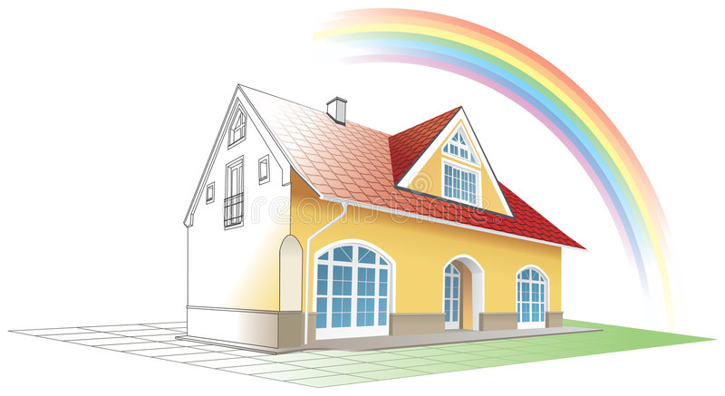 Dream home coming true,rainbow stock illustration