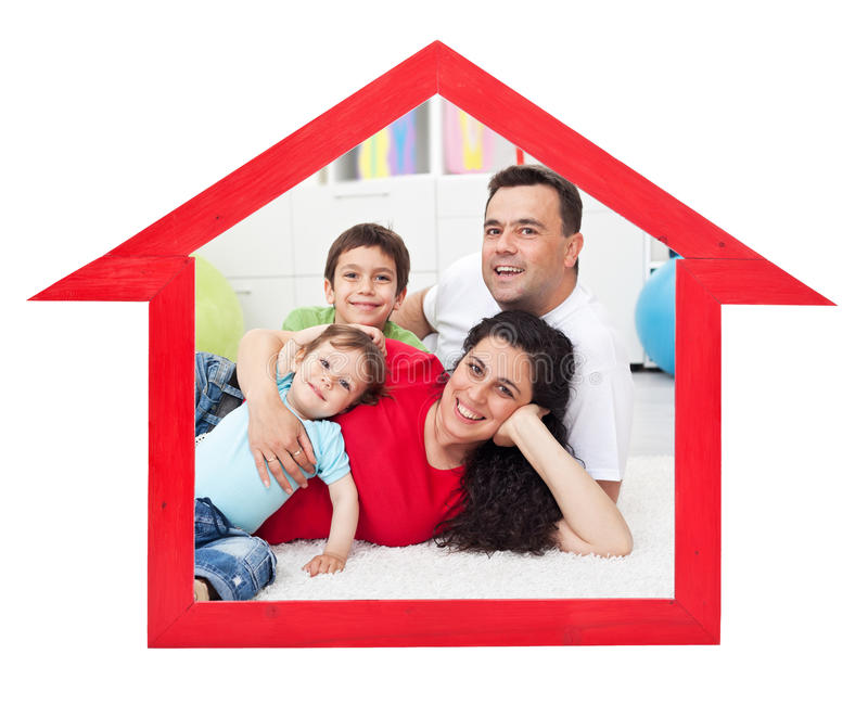 Dream home concept. With family inside house contour sign - isolated royalty free stock images
