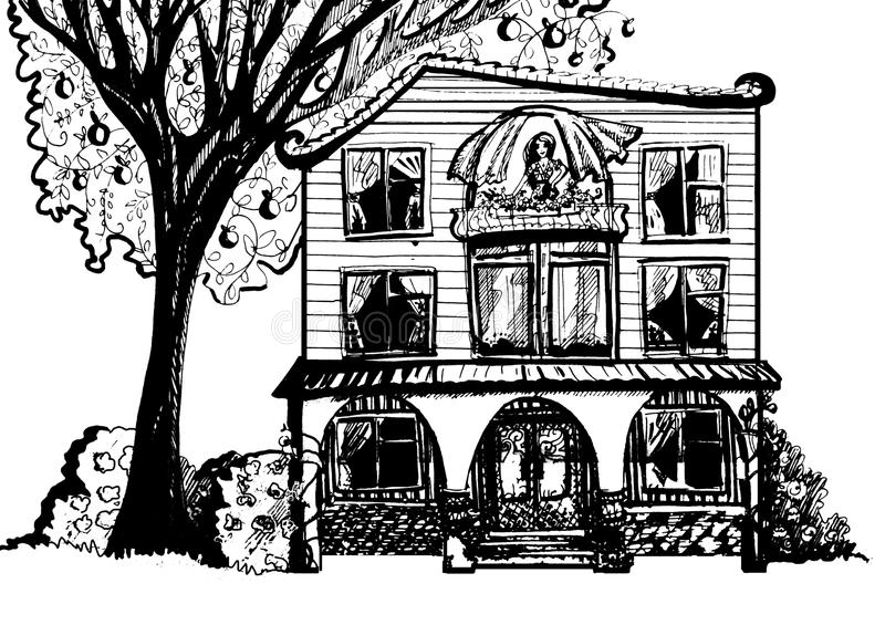 Download Dream House Black And White Illustration Of With Tree Stock