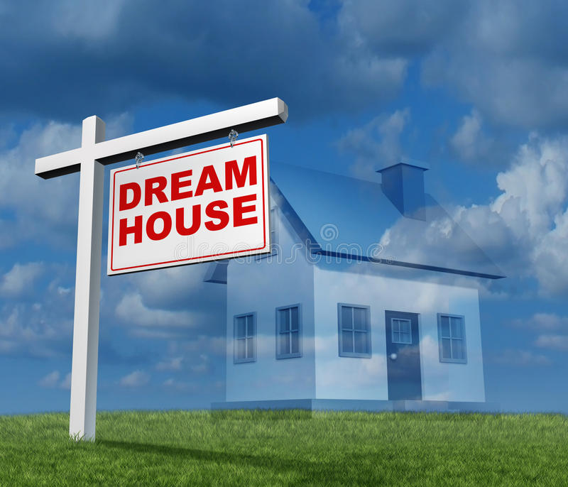 Dream House Concept. As a real estate sign with a single family home imagination a plan or aspiration for a future new home construction fantasy stock illustration