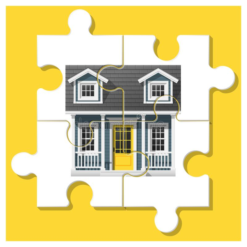 Dream house concept with completed puzzle house on colorful background royalty free illustration