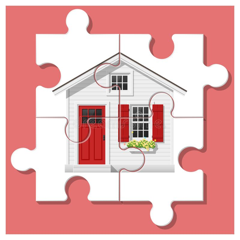 Dream house concept with completed puzzle house on colorful background vector illustration
