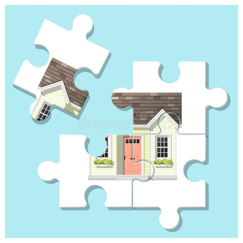 Dream house concept with puzzle house and the last piece for reach the goal royalty free illustration