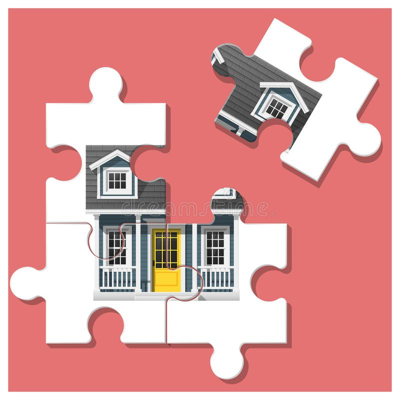 Dream house concept with puzzle house and the last piece for reach the goal vector illustration