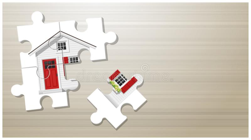 Dream house concept with puzzle house on wooden board background stock illustration