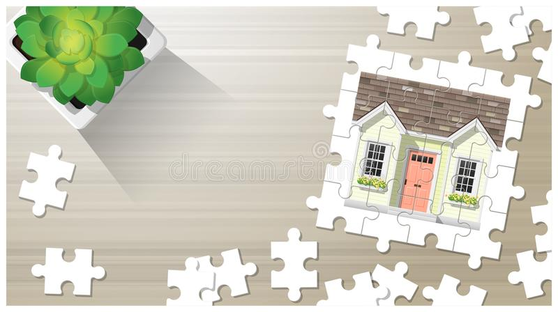 Dream house concept with puzzle house on wooden board background royalty free illustration