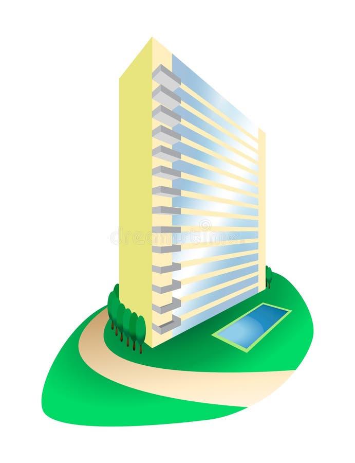 Dream House Condominium on Hill Illustration. A block of condominium with a swimming pool vector illustration