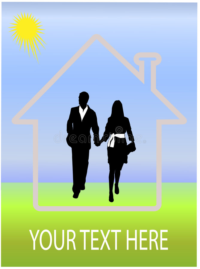 Dream house and happy couple stock image