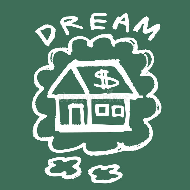 Dream House. Illustration of hand drawing dream house on the blackboard stock illustration