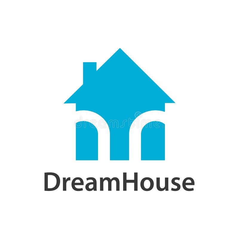 Dream house logo concept design. Light blue color. Symbol graphic template element vector illustration