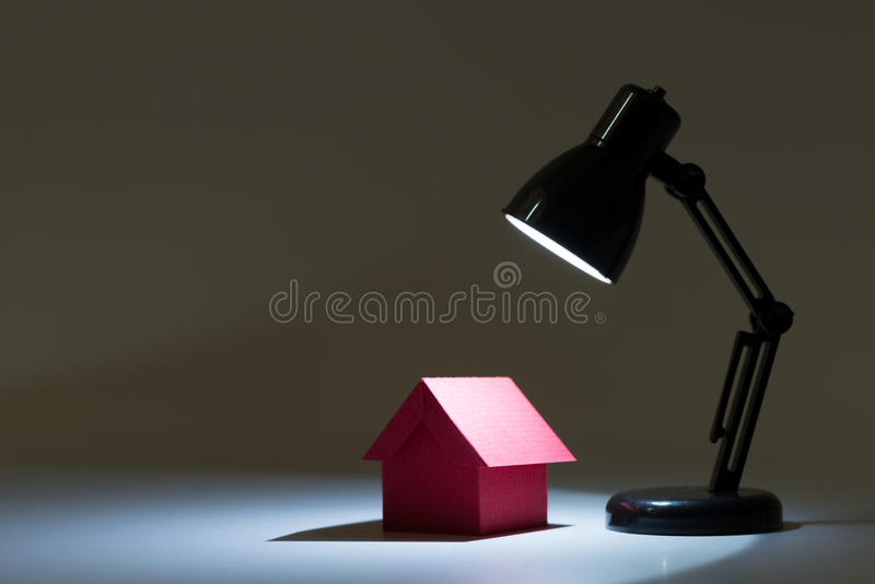 Dream house in spotlight stock photos