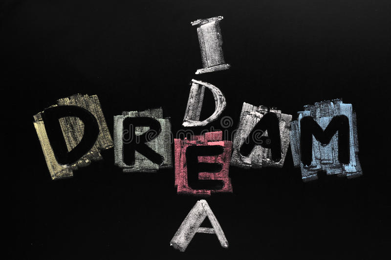 Dream and idea written in colorful chalk. On blackboard stock image