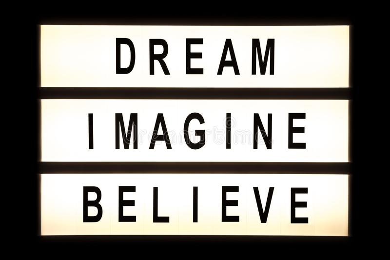 Dream imagine believe hanging light box vector illustration