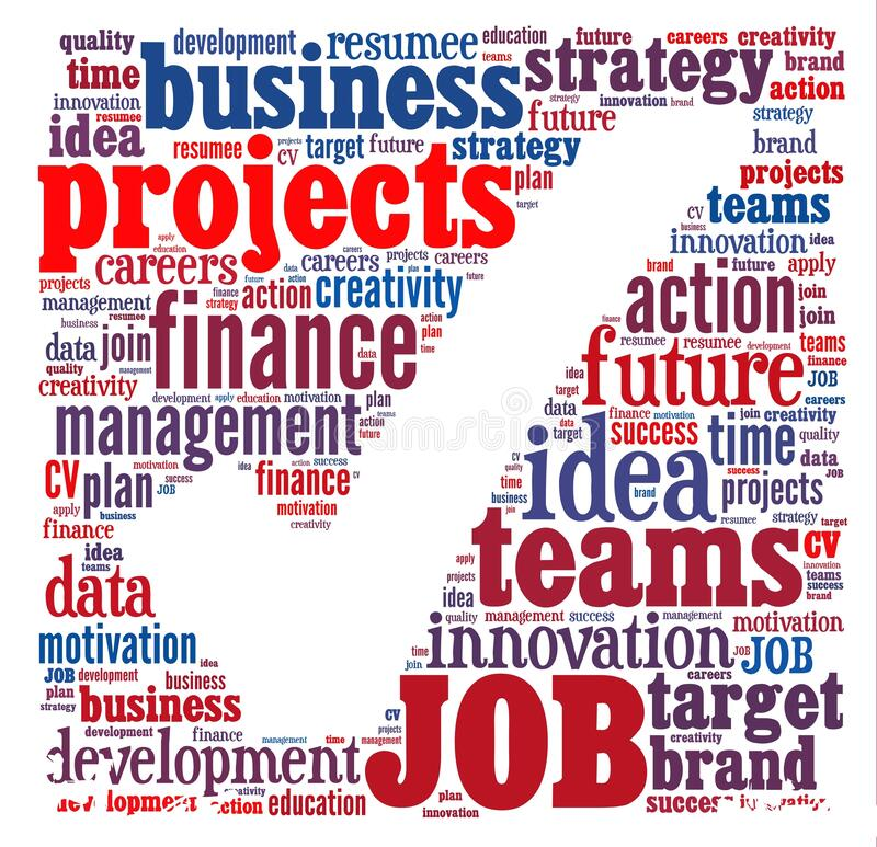 Job Word Cloud. Dream Job Background Concept Word Cloud stock illustration