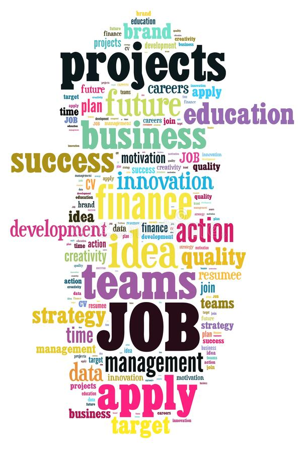 Job Word Cloud. Dream Job Background Concept Word Cloud royalty free illustration