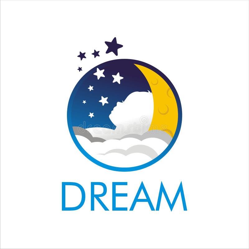 Dream kids sleep logo rest stock illustration