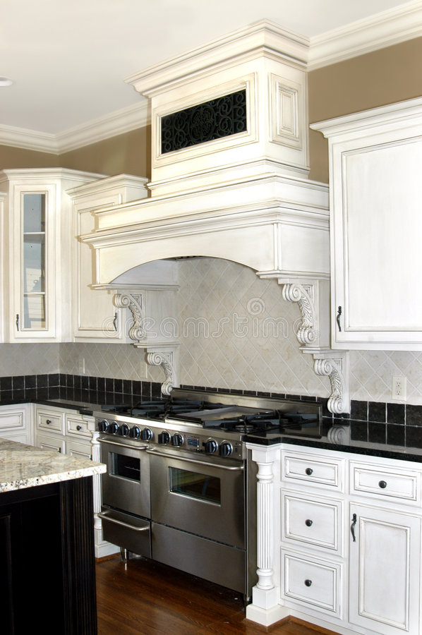 Dream Kitchen. Modern kitchen in antique white with trim and sparkle is the dream kitchen for housewives across America royalty free stock images
