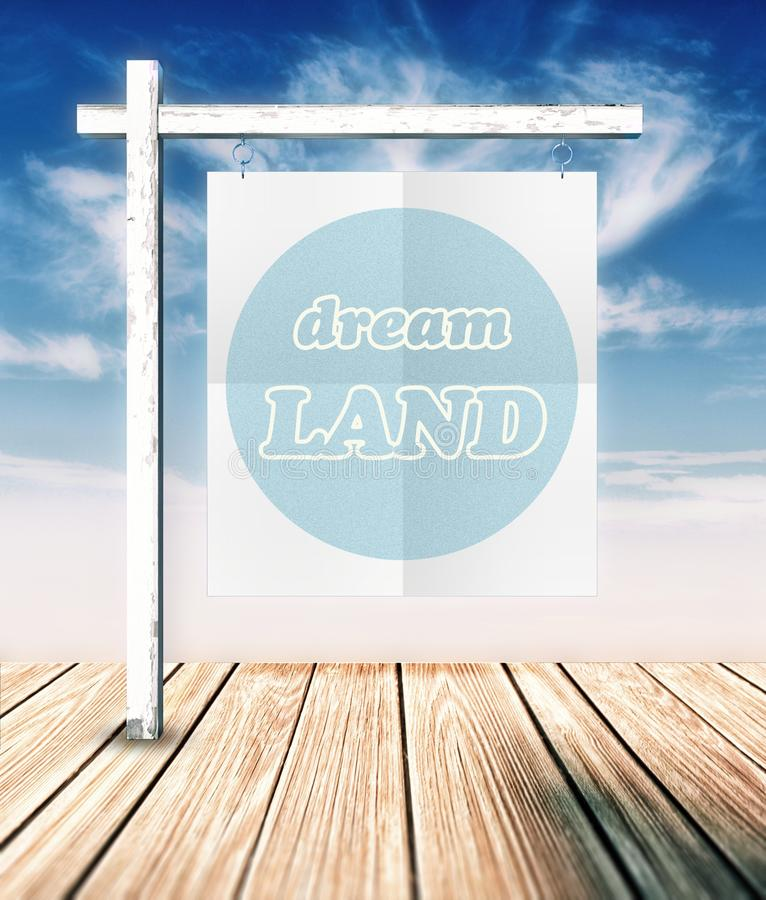 Dream land concept poster hanging. On clouds background stock illustration