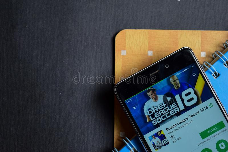 Dream League Soccer 2018 dev app on Smartphone screen. BEKASI, WEST JAVA, INDONESIA. SEPTEMBER 23, 2018 : Dream League Soccer 2018 dev app on Smartphone screen royalty free stock images
