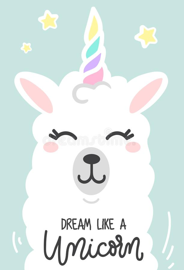 Dream like a unicorn inspirational poster with llama and stars. stock illustration