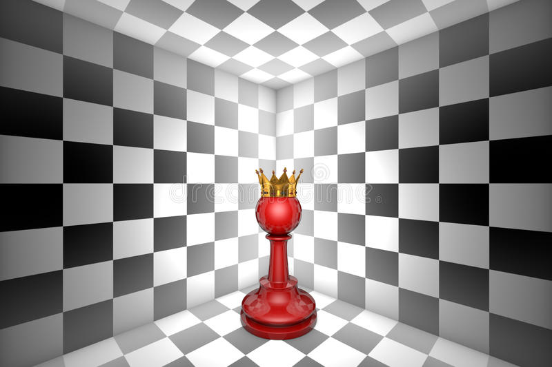 Dream of pawn. Loneliness (gold pawn-chess metaphor). 3D illustration render. Free space for text. Red pawn in black and white square. Gold crown. 3D vector illustration