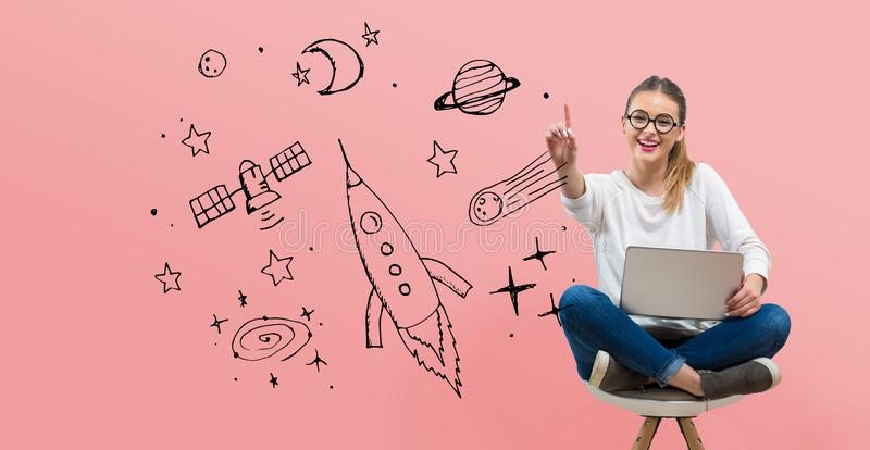Dream of space and rocket with young woman vector illustration