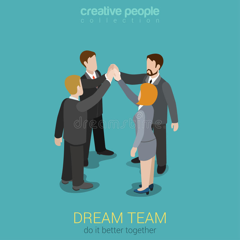 Dream team togetherness flat 3d web isometric concept. Dream team teambuilding togetherness flat 3d web isometric infographic business work concept template royalty free illustration