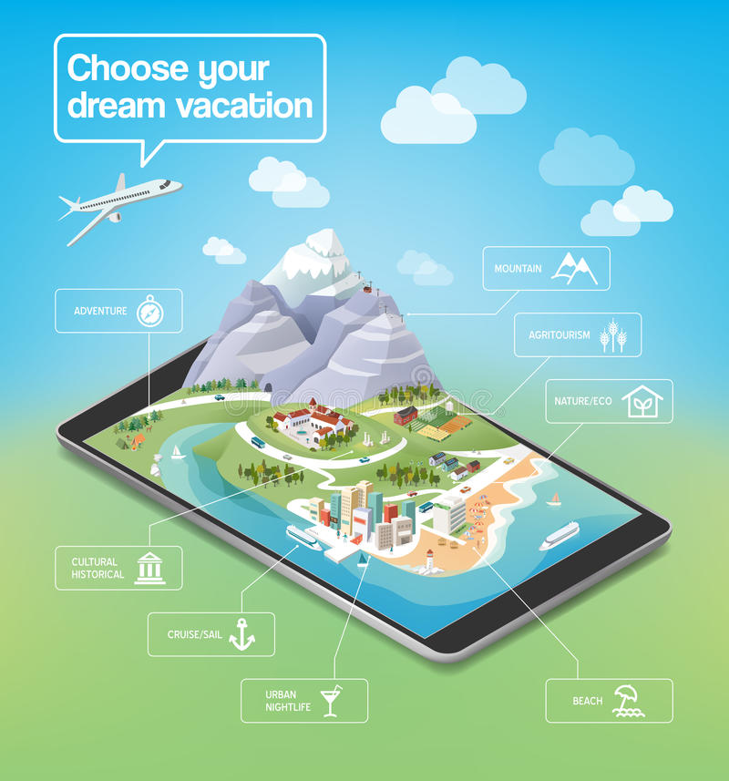 Dream vacations infographic royalty free illustration