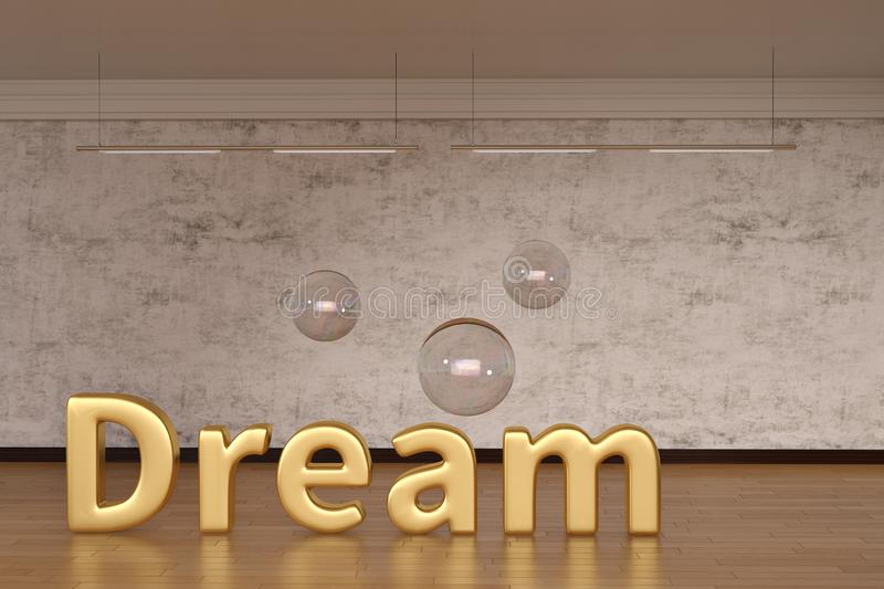 Dream word and bubble on wooden floor. 3D illustration. vector illustration