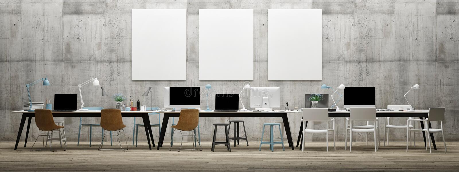 Dream work space office, three mock up poster on concrete wall vector illustration