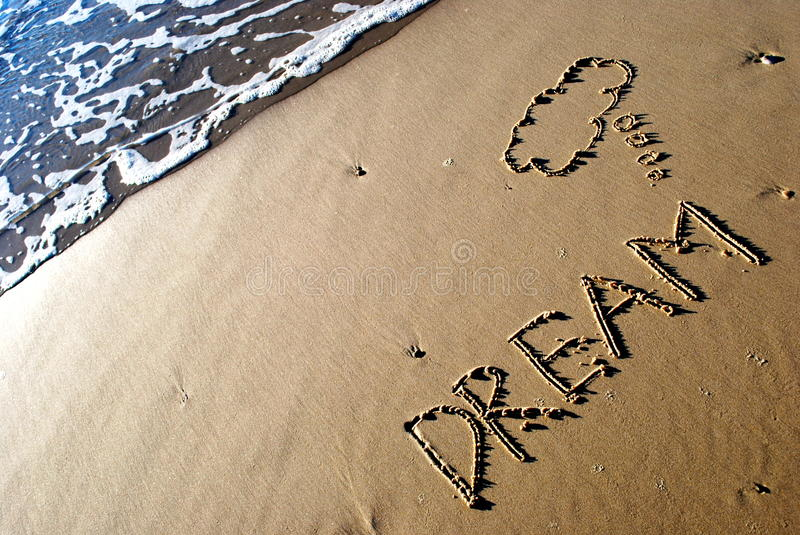 Download Dream written on sand stock image. Image of angle, motivation - 10133129